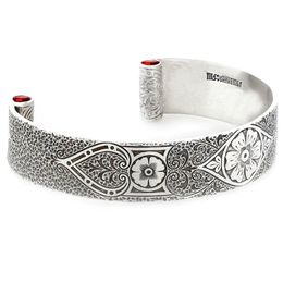 """Passionate Love"" Women's Sterling Silver Wide Cuff Bracelet with Rubies"