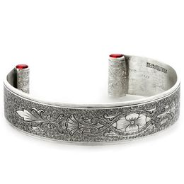 """Enduring Love"" Women's Sterling Silver Wide Cuff Bracelet with Rubies"