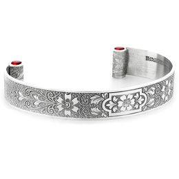 """Aphrodite's Flower"" Women's Engraved Sterling Silver Cuff Bracelet with Rubies"