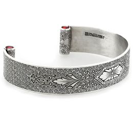 """Love At First Sight"" Women's Sterling Silver Wide Cuff Bracelet with Rubies"