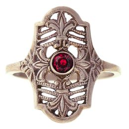 """Parisian Nights"" Vintage 14k White Gold Filigree Ruby Cigar Band Ring"
