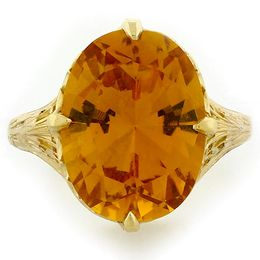 """Summers Sun"" 18k Yellow Gold Vintage Filigree Citrine Ring"