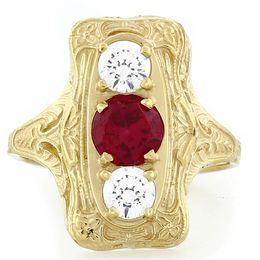"""Perfect Love"" 18K Yellow Gold Diamond and Ruby Vintage Filigree Ring"