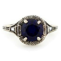 """Trust, Loyalty and Love"" 14k White Gold Vintage Filigree Sapphire and Diamond Ring"