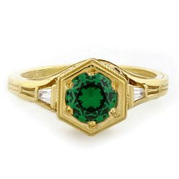 """Optimistic Faith"" 18k Yellow Gold Vintage Filigree Emerald and Diamond Ring"