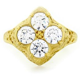 """Oxalis"" 18k Yellow Gold Vintage Diamond Filigree Ring"