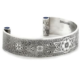 """Love and Regard"" Women's Sterling Silver Wide Cuff Bracelet with Sapphires"