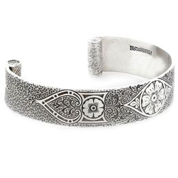 """Passionate Love"" Women's Sterling Silver Wide Cuff Bracelet with Diamonds"