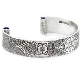"""Passionate Love"" Women's Sterling Silver Wide Cuff Bracelet with Sapphires"