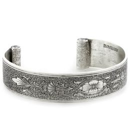 """Enduring Love"" Women's Sterling Silver Wide Cuff Bracelet with Diamonds"