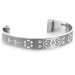 """Aphrodite's Flower"" Women's Engraved Sterling Silver Cuff Bracelet with Diamonds"