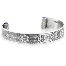 """Aphrodite's Flower"" Women's Engraved Sterling Silver Cuff Bracelet with Sapphires"