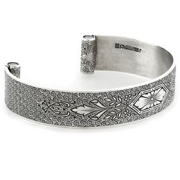 """Love At First Sight"" Women's Sterling Silver Wide Cuff Bracelet with Diamonds"