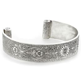 """Loyal Love"" Women's Sterling Silver Wide Cuff Bracelet with Diamonds"