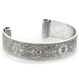 """Loyal Love"" Women's Sterling Silver Wide Cuff Bracelet with Sapphires"