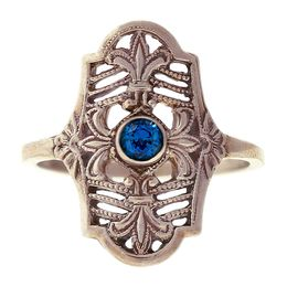"""Parisian Nights"" Vintage 14k White Gold Filigree Sapphire Cigar Band Ring"