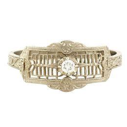 """Timeless Romance"" Vintage 14k White Gold Filigree Diamond Cigar Band Ring"