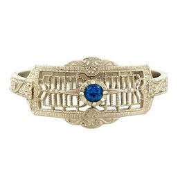 """Timeless Romance"" Vintage 14k White Gold Filigree Sapphire Cigar Band Ring"
