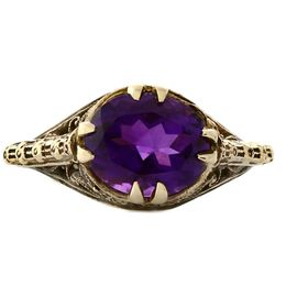 JMU OV028 14k Yellow Gold 10x8mm Amethyst