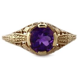 JMU R017 14k Yellow Gold & 7mm Amethyst