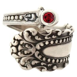 """""""Cascade"""" Vintage Sterling Silver Spoon Ring With Ruby"""