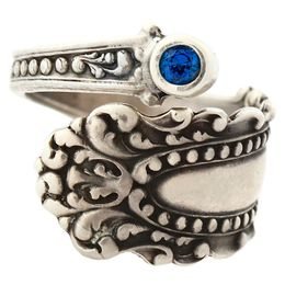 """""""Cascade"""" Vintage Sterling Silver Spoon Ring With Sapphire"""