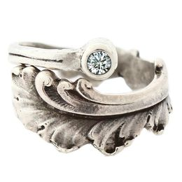 """""""Plume"""" Vintage Sterling Silver Spoon Ring With Diamond"""