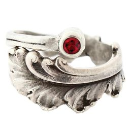 """""""Plume"""" Vintage Sterling Silver Spoon Ring With Ruby"""