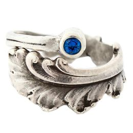 """""""Plume"""" Vintage Sterling Silver Spoon Ring With Sapphire"""