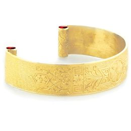 """Love and Regard"" Women's 18k Yellow Gold Wide Cuff Bracelet with Rubies"