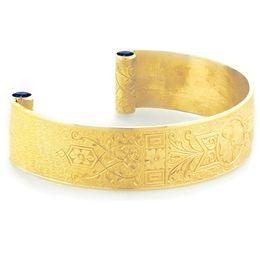 """Love and Regard"" Women's 18k Yellow Gold Wide Cuff Bracelet with Sapphires"