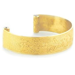 """Love and Regard"" Women's 18k Yellow Gold Wide Cuff Bracelet with Diamonds"