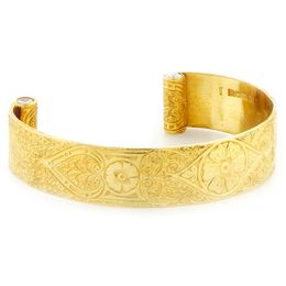 """Passionate Love"" Women's 18k Yellow Gold  Wide Cuff Bracelet with Diamonds"