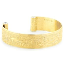 """Enduring Love"" Women's 18k Yellow Gold Wide Cuff Bracelet with Diamonds"