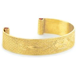 """Love At First Sight"" Women's 18k Yellow Gold Wide Cuff Bracelet with Rubies"