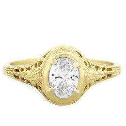 """Harmony & Balance"" 18k Yellow Gold Oval Diamond Filigree Engagement Ring"