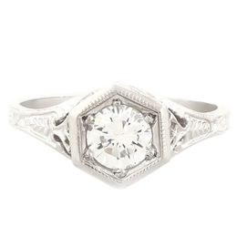 """Four Tulips"" Platinum Vintage Diamond Filigree Engagement Ring"