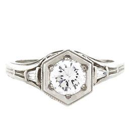 """Past Present and Future"" Platinum Three Diamond Vintage Filigree Engagement Ring"