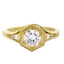 """Past Present and Future"" 18k Yellow Gold Three Diamond Vintage Filigree Engagement Ring"