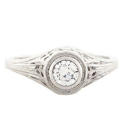"""Cherry Blossom"" Platinum Vintage Diamond Filigree Engagement Ring"