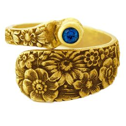 """""""Posey"""" Vintage 18k Yellow Gold Spoon Ring With Sapphire"""