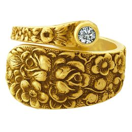 """""""Rose"""" Vintage 18k Yellow Gold Spoon Ring With Diamond"""