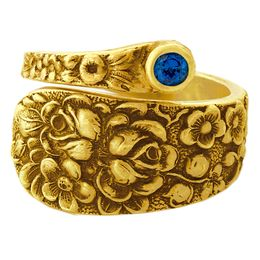 """""""Rose"""" Vintage 18k Yellow Gold Spoon Ring With Sapphire"""