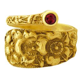 """""""Forget Me Not"""" Vintage 18k Yellow Gold Spoon Ring With Ruby"""
