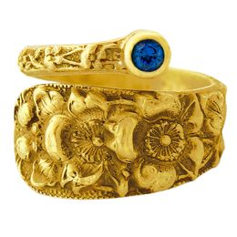"""""""Forget Me Not"""" Vintage 18k Yellow Gold Spoon Ring With Sapphire"""