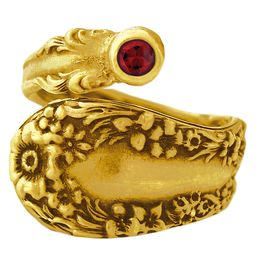 """""""Meadow"""" Vintage 18k Yellow Gold Spoon Ring With Ruby"""