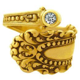 """Cascade"" Vintage 18k Yellow Gold Spoon Ring Diamond"