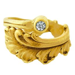 """""""Plume"""" Vintage 18k Yellow Gold Spoon Ring With Diamond"""