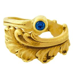 """""""Plume"""" Vintage 18k Yellow Gold Spoon Ring With Sapphire"""