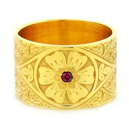 """Passionate Love"" Vintage Engraved 18k Yellow Gold Ruby Ring"